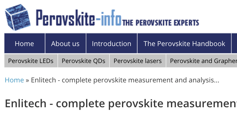 QE-R solar cell quantum efficiency system is posted by Perovskite-info in 2021; Enlitech complete perovskite measurement