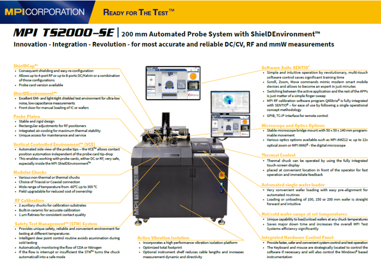 MPI Automatic Prober Fact Sheet for CIS/ALS/Light-Sensor wafer testing