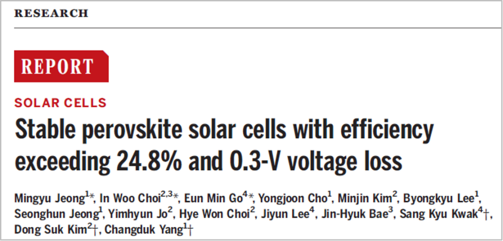 Perovskite Solar Cells with Efficiency exceeding 24.8% and 0.3-V voltage loss