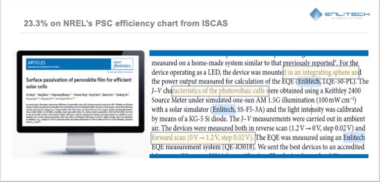 23.3% on Nrel's PSC efficiency Enlitech 單結電池JV與EQE精準比對