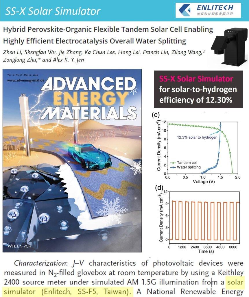 Adv. Energy Mater. Water Splitting Solar Cell Enabling Solar-to-hydrogen Efficiency of 12.30%